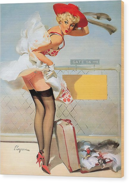 Luggage Accident Pin-up Girl Wood Print
