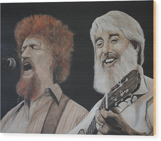Luke Kelly And Ronnie Drew Wood Print