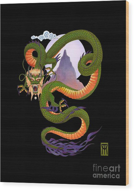 Lunar Chinese Dragon On Black Wood Print