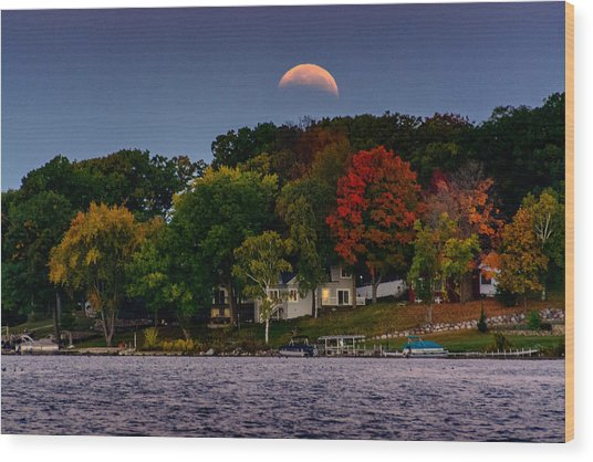 Lunar Eclipse Over Pewaukee Lake Wood Print