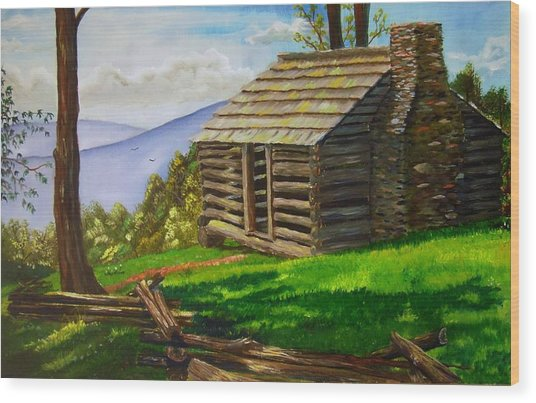 Lunch At An Old Cabin In The Blue Ridge Wood Print