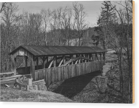 Luther's Mill Covered Bridge Black And White Wood Print