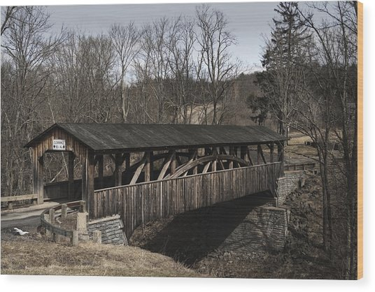 Luther's Mill Covered Bridge Wood Print