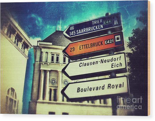 Luxembourg City Wood Print