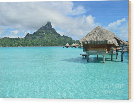 Luxury Overwater Vacation Resort On Bora Bora Island Wood Print