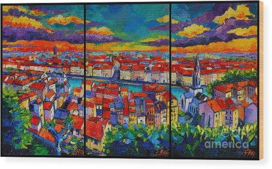 Lyon Panorama Triptych Wood Print
