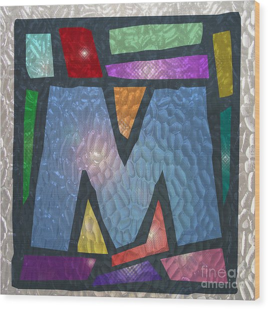 M As Stained Glass Wood Print