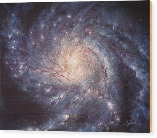 M101 Pinwheel Galaxy Wood Print