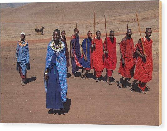 Maasai People Wood Print