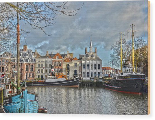 Maassluis Harbour Wood Print
