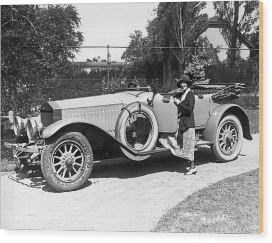 Mabel Normand In A Rolls Royce Wood Print