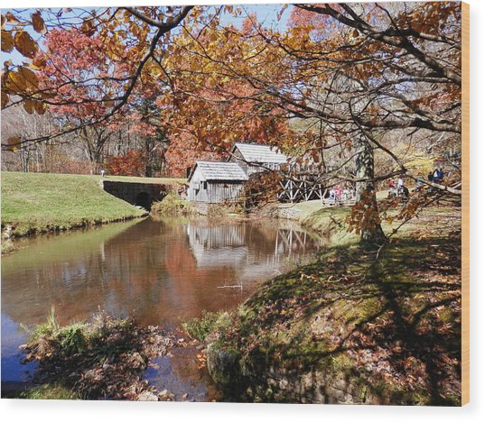 Mabry's Mill In October Wood Print