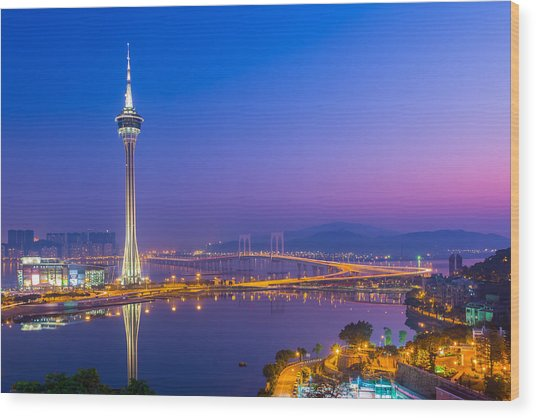 Macau Tower In China Wood Print by Nattee Chalermtiragool