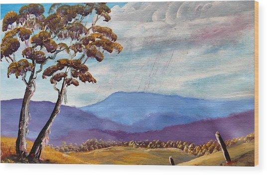 Macedon Blue Wood Print by David Belcastro