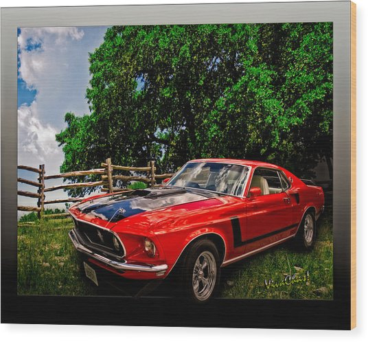 1969 Ford Mach 1 Mustang Wood Print