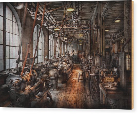 Machinist - A Fully Functioning Machine Shop  Wood Print
