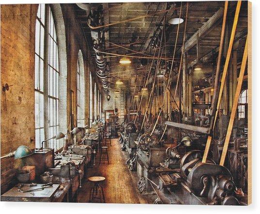 Machinist - Machine Shop Circa 1900's Wood Print