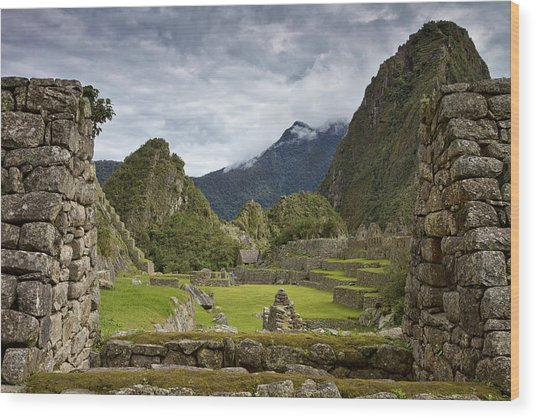 Machu Picchu Through The Roof Wood Print