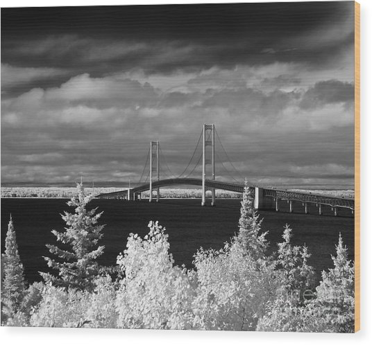 Macinac Bridge - Infrared Wood Print