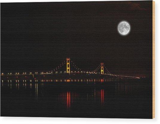 Mackinac Bridge And Moon Wood Print