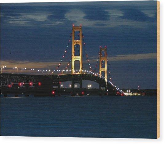 Mackinac Bridge At Dusk Wood Print