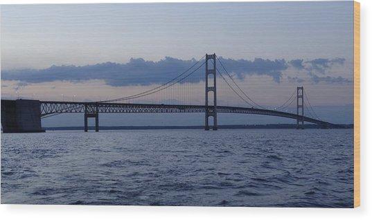 Mackinac Bridge At Eventide Wood Print