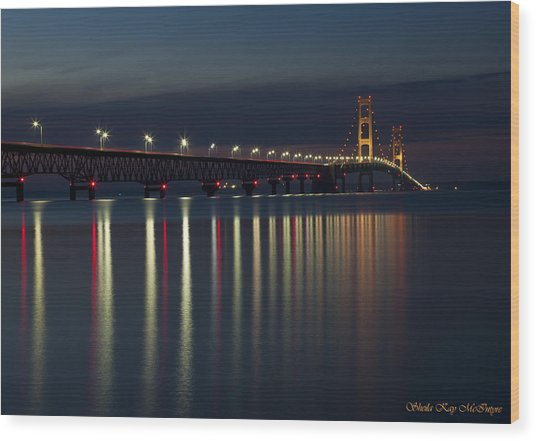 Mackinac Bridge At Night Wood Print
