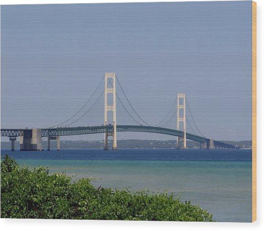Mackinac Bridge Blue Wood Print