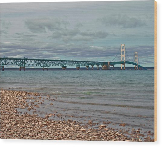 Mackinac Bridge Wood Print by Brady D Hebert