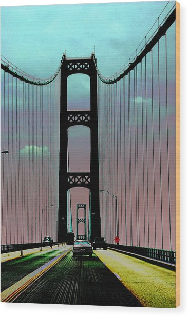 Mackinac Bridge Fantasy Wood Print