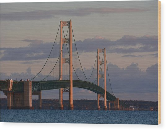 Mackinac Bridge In The Morning Sun Wood Print by Keith Stokes