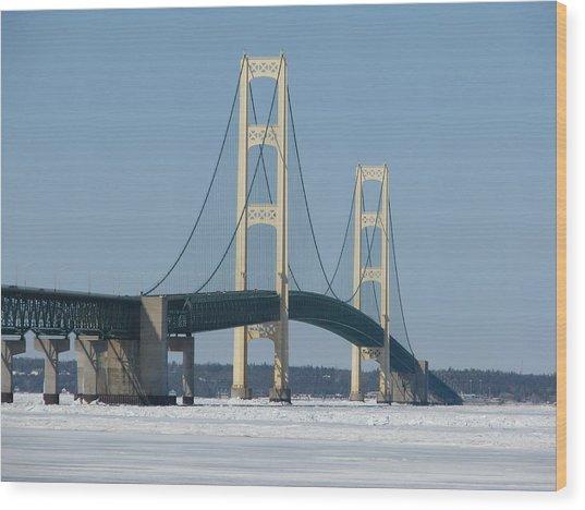 Mackinac Bridge In Winter Wood Print