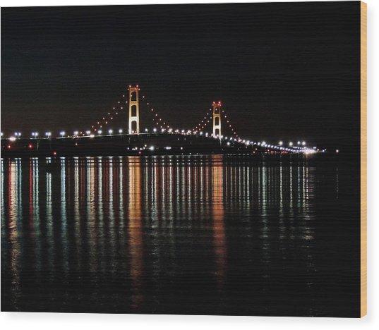 Mackinac Bridge Lights Wood Print