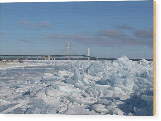 Mackinac Bridge With Ice Windrow Wood Print