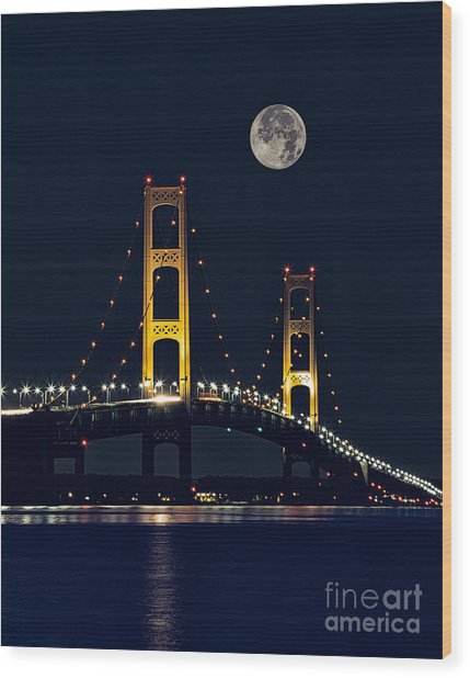 Mackinac Bridge With Moonrise Wood Print by Todd Bielby