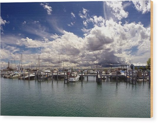 Mackinaw City Marina Wood Print