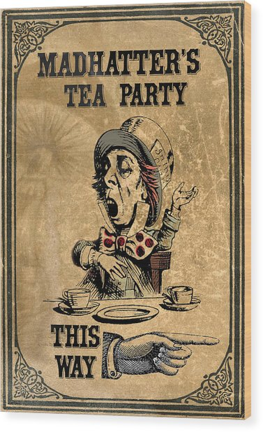 Mad Hatters Tea Party Wood Print