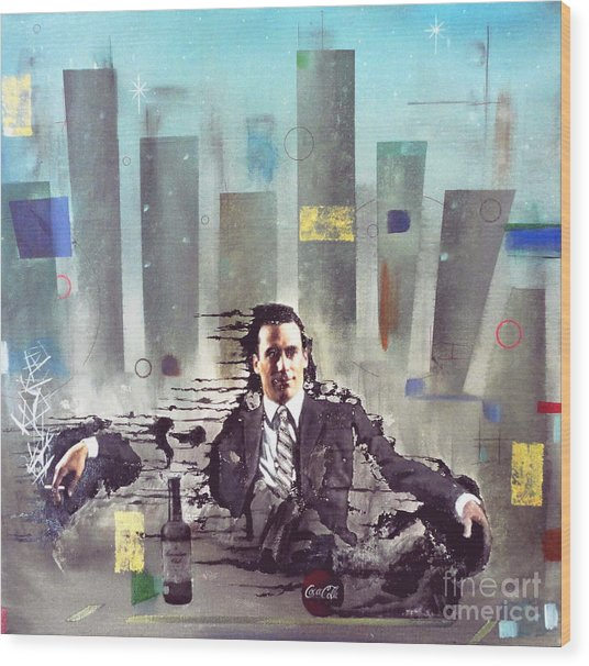 Mad Men Disintegration Of Don Draper Wood Print