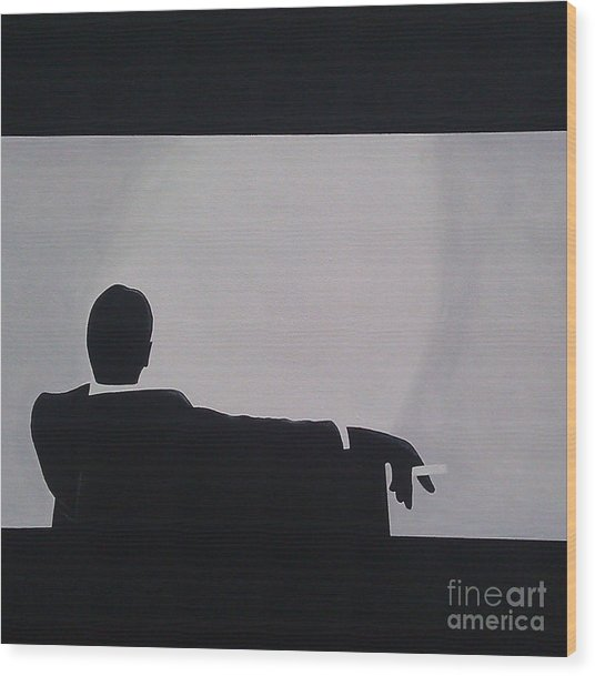 Mad Men In Silhouette Wood Print