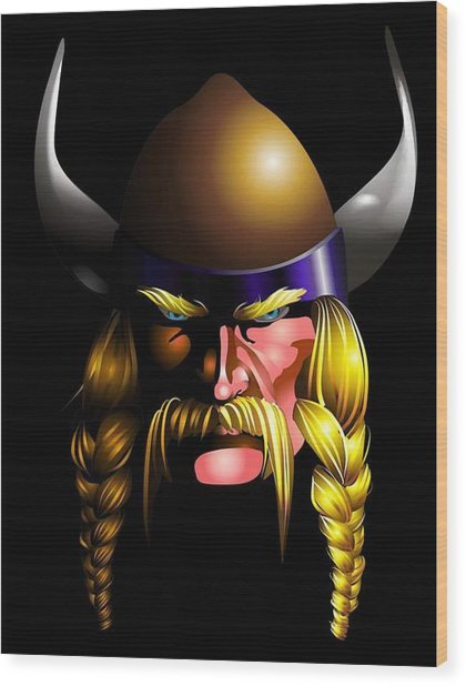 Mad Viking Wood Print