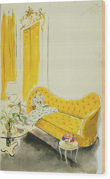 Madame Luce On A Yellow Sofa Wood Print by Cecil Beaton