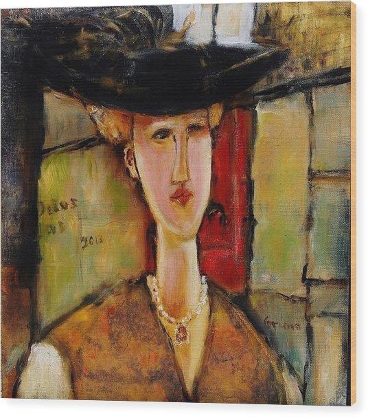 Madame Pompador As A Tribute To Modigliani Wood Print
