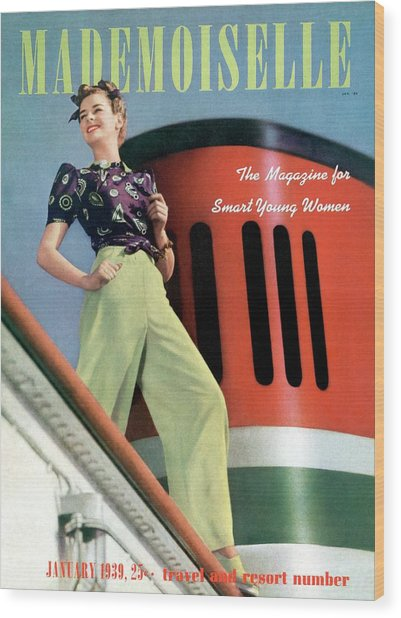 Mademoiselle Cover Featuring A Model Aboard Wood Print