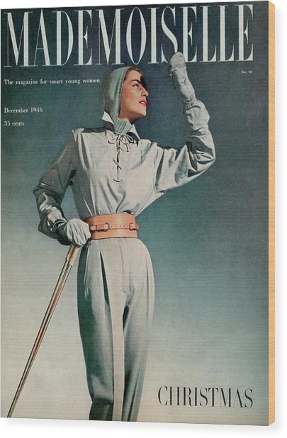 Mademoiselle Cover Featuring A Model In A Ski Wood Print