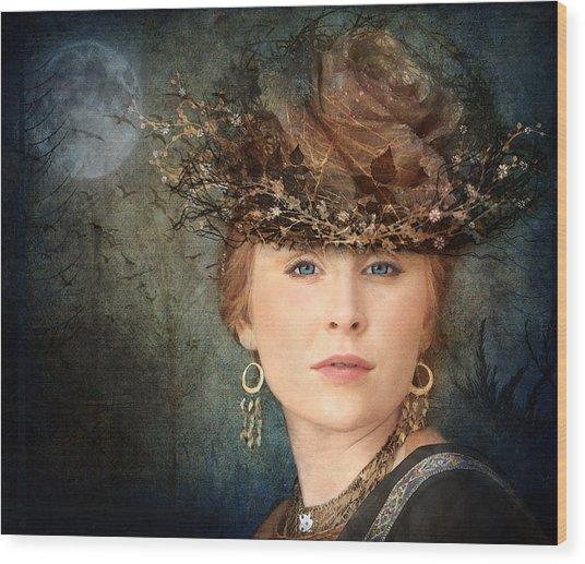 Mademoiselle Emilie Wood Print by Marie  Gale