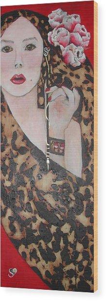 Mademoiselle Rebecca Tacosa Gray Wood Print by Rebecca Tacosa Gray