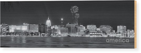 Madison - Wisconsin -  New Years Eve Panorama Black And White Wood Print