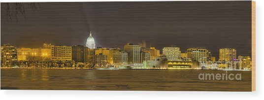 Madison - Wisconsin City  Panorama - No Fireworks Wood Print