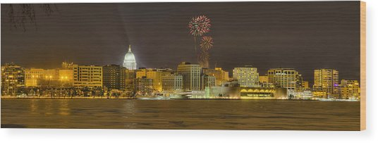 Madison Skyline New Years Eve Wood Print