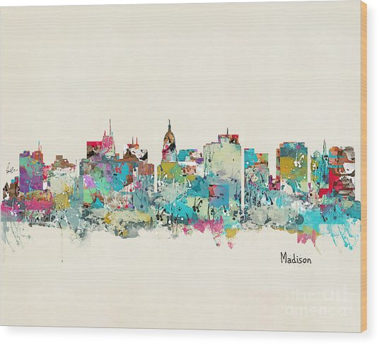 Madison Wisconsin Skyline Wood Print